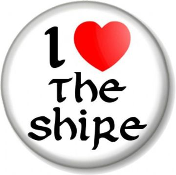 I Love / Heart THE SHIRE Pinback Button Badge Hobbit Lord Of Rings JRR Tolkein